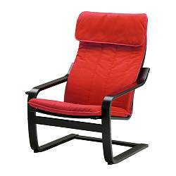 POÄNG armchair, Alme medium red, black-brown Width: 68 cm Depth: 82 cm Height: 100 cm
