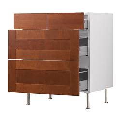 "AKURUM base cabinet with 2+2 drawers, Ädel medium brown, white Width: 29 7/8 "" Depth: 24 7/8 "" Height: 30 3/8 "" Width: 76 cm Depth: 63 cm Height: 77 cm"
