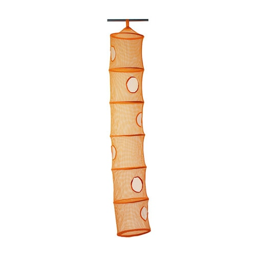 Ikea 6 compartment hanging toy storage orange new for Hanging organizer ikea