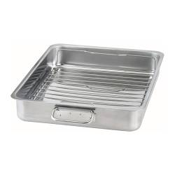 KONCIS roasting tin with grill rack, stainless steel Length: 40 cm Width: 32 cm Height: 6.5 cm