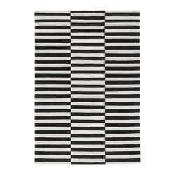 "STOCKHOLM rug, flatwoven, off-white, black Length: 11 ' 6 "" Width: 8 ' 2 "" Surface density: 4 oz/sq ft Length: 350 cm Width: 250 cm Surface density: 1360 g/m²"