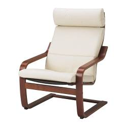 POÄNG armchair, medium brown, Glose Robust off-white
