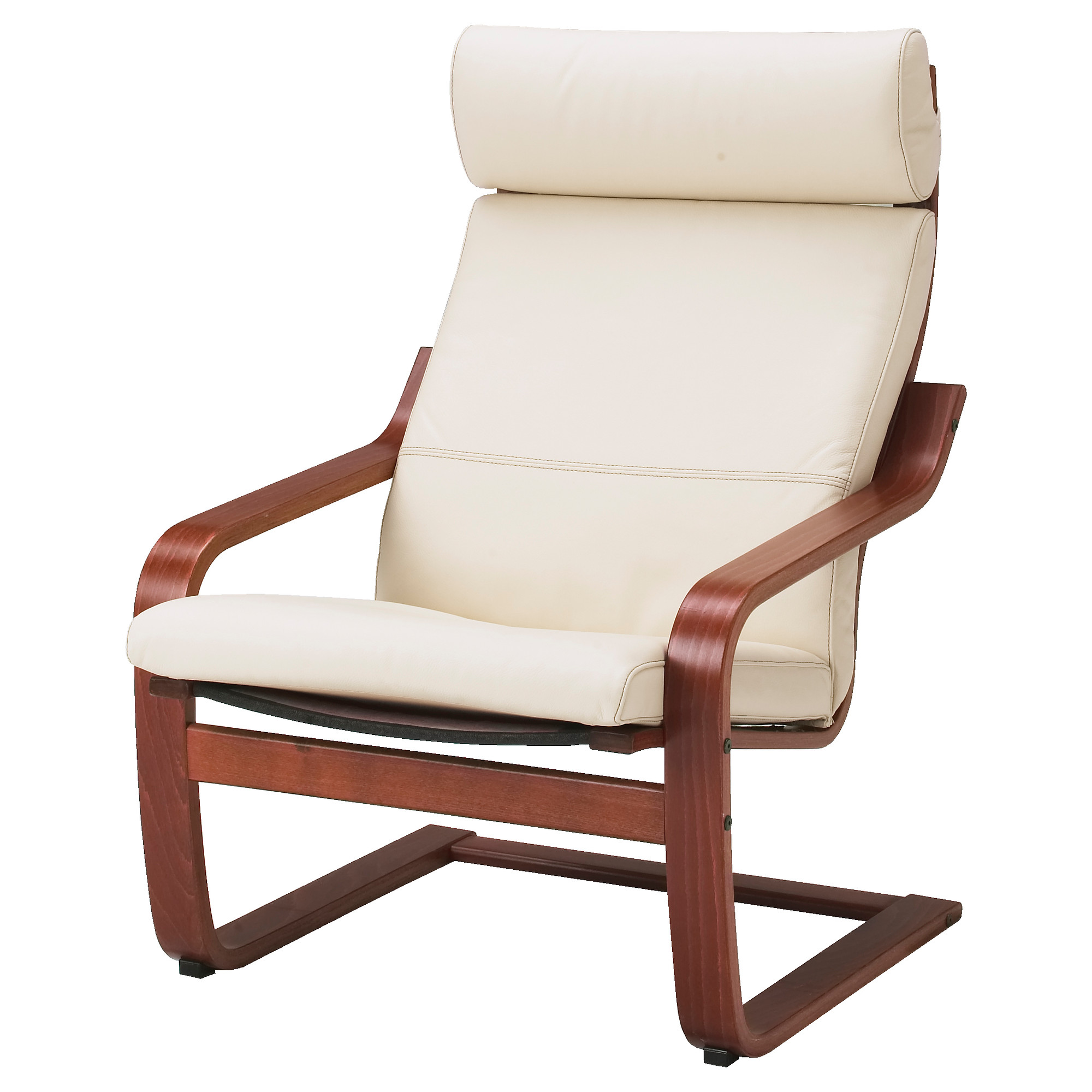 Poang chair living room - Po Ng Armchair Medium Brown Glose Robust Off White Width 26 3