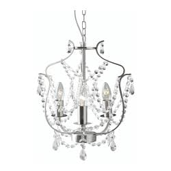 KRISTALLER chandelier, 3-armed, glass, silver-colour Diameter: 32 cm Height: 1 m 72 cm Weight: 2.80 kg