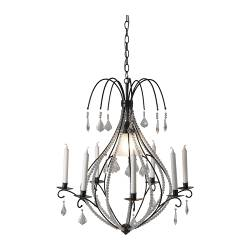 KRISTALLER chandelier, 7-armed, glass, black Diameter: 66 cm Height: 2 m 8 cm