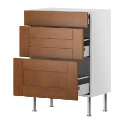 "AKURUM base cabinet with 3 drawers, Ädel medium brown, white Width: 14 3/4 "" Depth: 12 1/4 "" Height: 30 3/8 "" Width: 38 cm Depth: 31 cm Height: 77 cm"