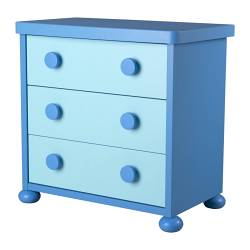 MAMMUT chest of 3 drawers, blue, light blue Width: 77 cm Depth: 45 cm Depth of drawer: 36 cm