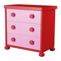 MAMMUT chest of 3 drawers, red, pink Width: 77 cm Depth: 45 cm Depth of drawer: 36 cm