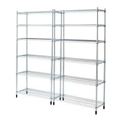 "OMAR 2 section shelving unit Width: 73 1/4 "" Depth: 14 1/8 "" Height: 72 1/2 "" Width: 186 cm Depth: 36 cm Height: 184 cm"