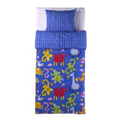 BARNSLIG DJUR quilt cover and pillowcase, blue Quilt cover length: 200 cm Quilt cover width: 150 cm Pillowcase length: 50 cm