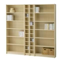 BILLY/BENNO bookcase combination, birch veneer Width: 200 cm Min. depth: 17 cm Max. depth: 28 cm