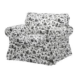 EKTORP armchair cover, Hovby white/black
