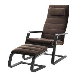 BOLIDEN armchair and footstool, Genarp dark brown, black-brown Width: 65 cm Depth: 83 cm Height: 103 cm