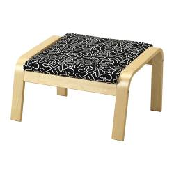 POÄNG footstool cushion, Eslöv black/white