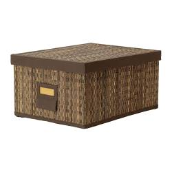 MOTORP box with lid, palm leaf Width: 28 cm Depth: 35 cm Height: 18 cm