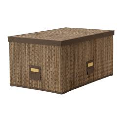 MOTORP box with lid, palm leaf Width: 35 cm Depth: 55 cm Height: 27 cm