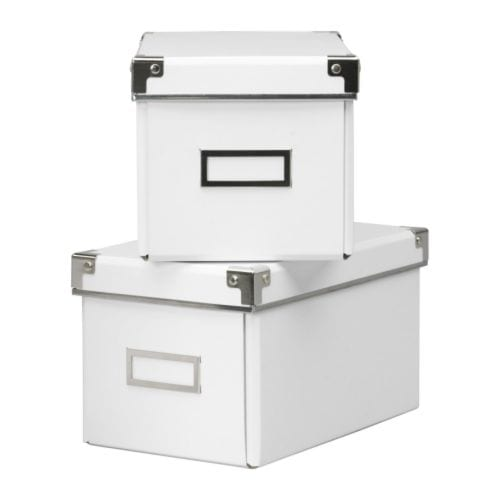 KASSETT CD box with lid white Width: 16 cm Depth: 26 cm Height: 15 cm Package quantity: 2 pack