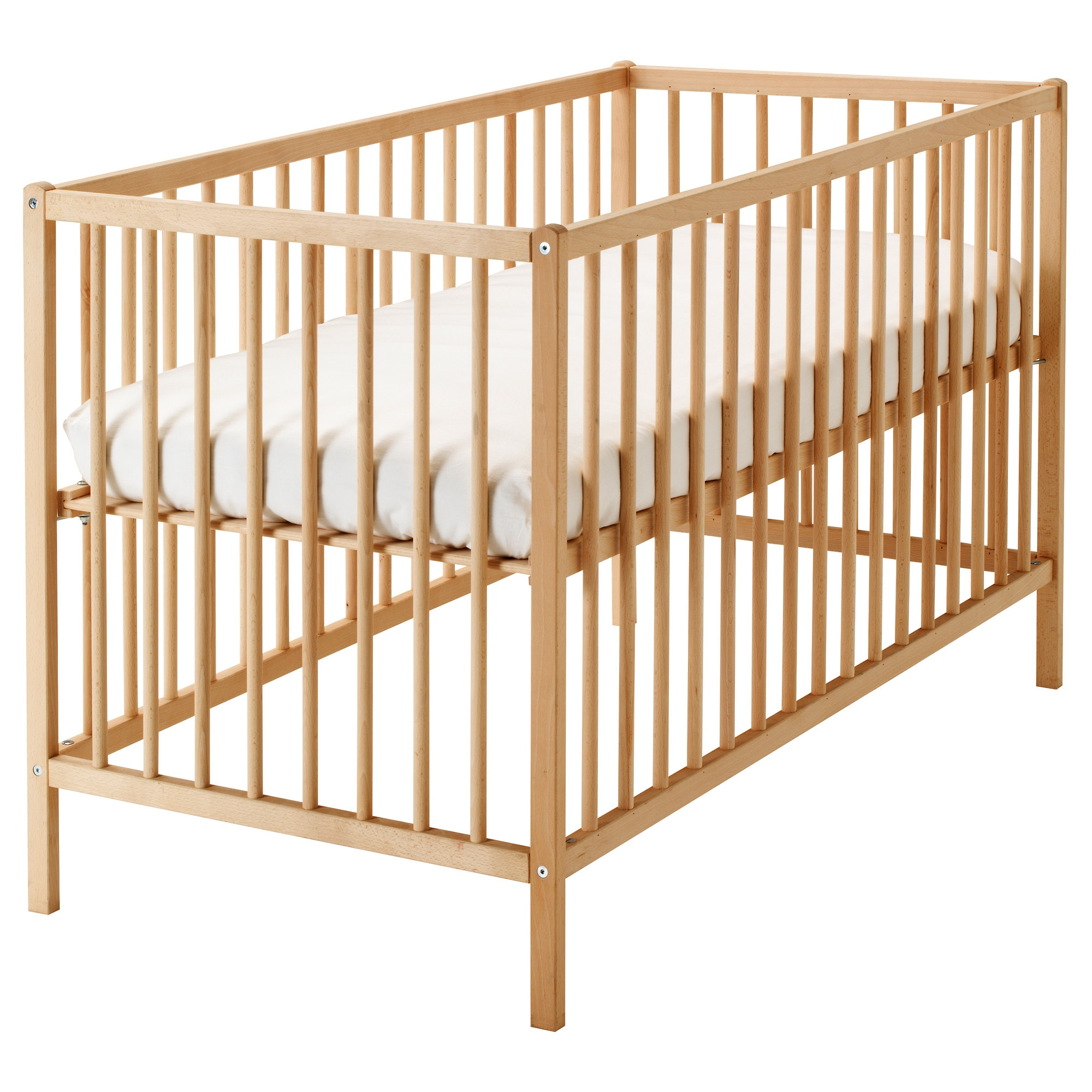 Baby bed extension uk - Sniglar Crib Beech Length 53 7 8 Width 29 1