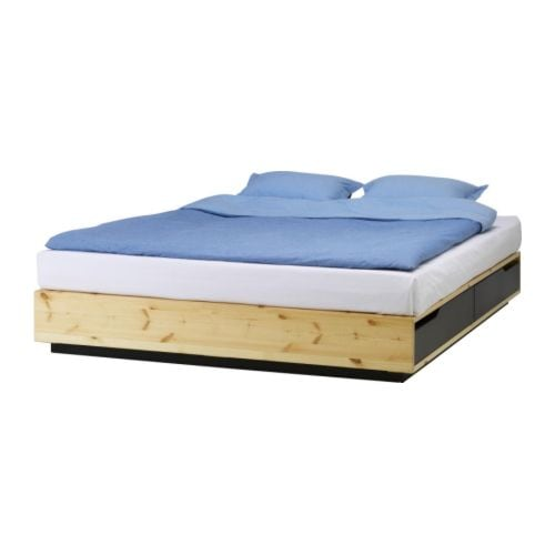 The IKEA Mandal bed with storage boxes