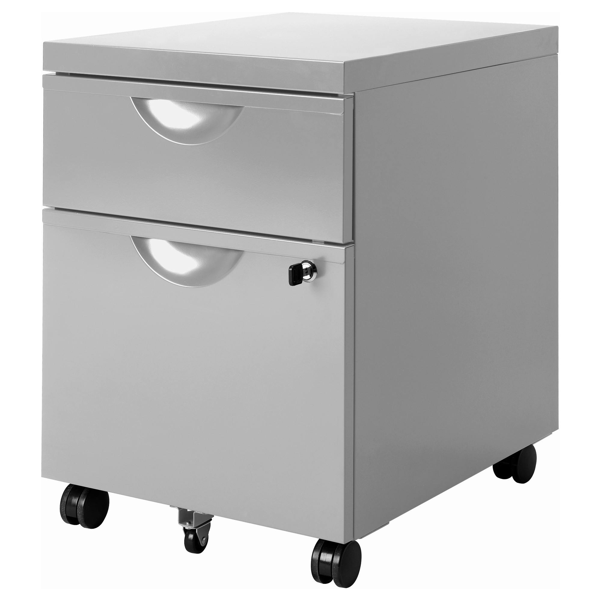 erik drawer unit w 2 drawers on casters silver color width 16 1 anew office ikea storage
