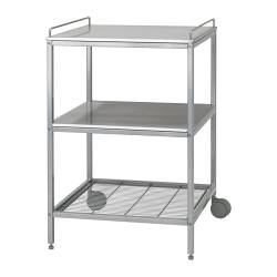 UDDEN kitchen trolley, silver-colour, stainless steel
