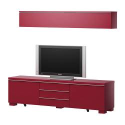 BESTÅ BURS TV storage combination, high-gloss red Width: 180 cm Height: 48 cm