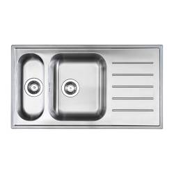 "BOHOLMEN 1 1/2 bowl inset sink with drainer, stainless steel Length: 35 3/8 "" Depth: 19 5/8 "" Height: 7 1/8 "" Length: 90 cm Depth: 50 cm Height: 18 cm"