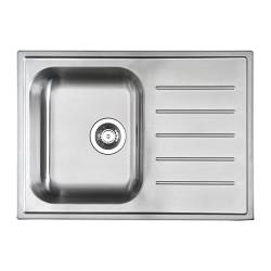 "BOHOLMEN 1 bowl inset sink with drainer, stainless steel Length: 27 1/2 "" Depth: 19 5/8 "" Height: 7 1/8 "" Length: 70 cm Depth: 50 cm Height: 18 cm"