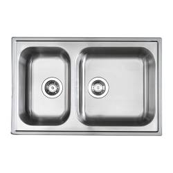 "BOHOLMEN double-bowl inset sink, stainless steel Length: 30 1/8 "" Depth: 19 5/8 "" Height: 7 1/8 "" Length: 76.5 cm Depth: 50 cm Height: 18 cm"