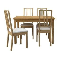 EKENSBERG /  BÖRJE table and 4 chairs, Gobo white, oak Length: 119 cm Width: 74 cm Height: 74 cm