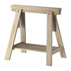 FINNVARD trestle with shelf, birch Width: 46 cm Depth: 70 cm Min. height: 71 cm