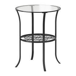 KLINGSBO side table, clear glass, black Diameter: 49 cm Height: 60 cm