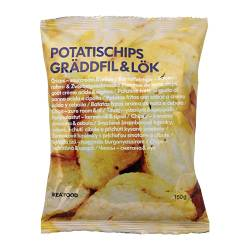 POTATISCHIPS GRÄDDFIL & LÖK sourcream and onion crisps Weight: 150 g