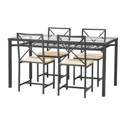 GRANÅS table and 4 chairs, glass, black