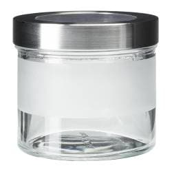 "DROPPAR jar with lid, stainless steel, frosted glass Diameter: 4 "" Height: 4 "" Volume: 14 oz Diameter: 10 cm Height: 9 cm Volume: 0.4 l"