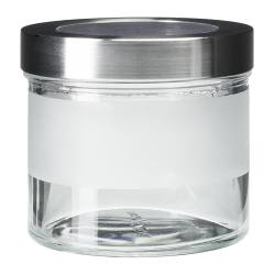 DROPPAR jar with lid, stainless steel, frosted glass Diameter: 10 cm Height: 9 cm Volume: 0.4 l