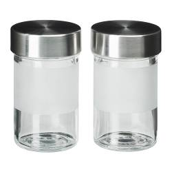 "DROPPAR spice jar, stainless steel, frosted glass Diameter: 2 "" Height: 4 "" Volume: 3 oz Diameter: 5 cm Height: 9 cm Volume: 9 cl"