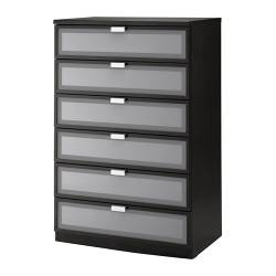 HOPEN chest of 6 drawers, frosted glass, black-brown Width: 80 cm Depth: 49 cm Height: 125 cm