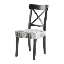 INGOLF chair with chair pad, Alvine Smal dark blue/white, black Width: 43 cm Depth: 52 cm Height: 91 cm
