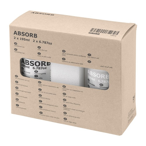 ABSORB Leathercare set IKEA Use a leather cream, which regreases and retains the softness of the leather, to prolong the life span of the leather.