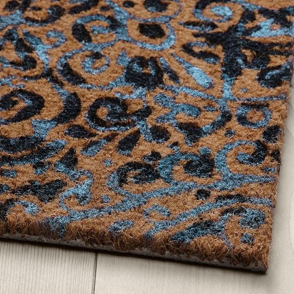 ÄNGSKLOCKA Door mat, indoor, natural/blue, 40x60 cm