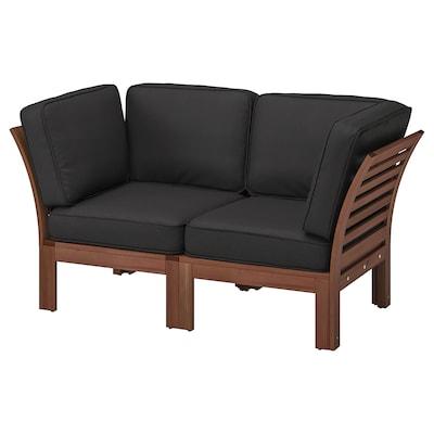 ÄPPLARÖ 2-seat modular sofa, outdoor, brown stained/Järpön/Duvholmen anthracite, 160x80x86 cm