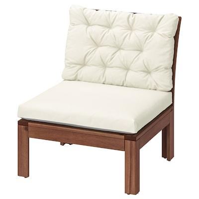 ÄPPLARÖ Easy chair, outdoor, brown stained/Kuddarna beige, 63x80x80 cm