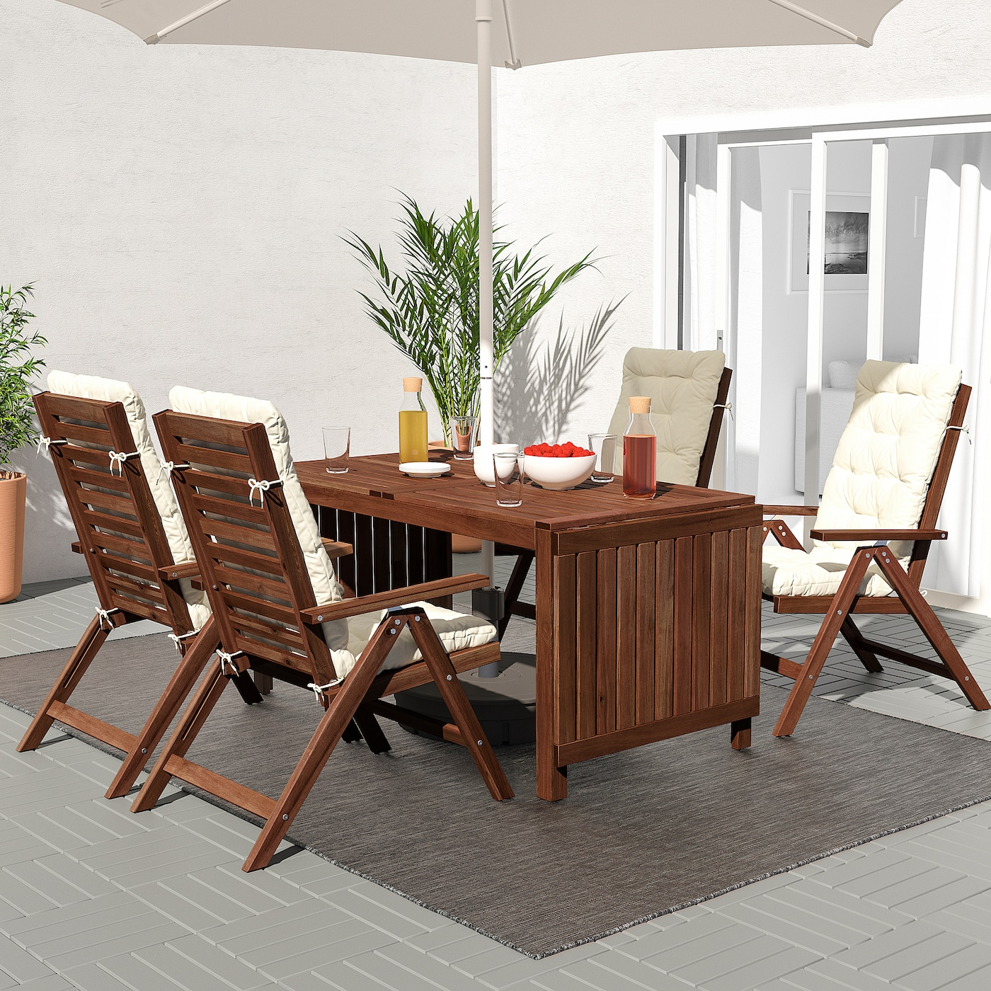 ÄPPLARÖ Reclining chair, outdoor - foldable brown stained
