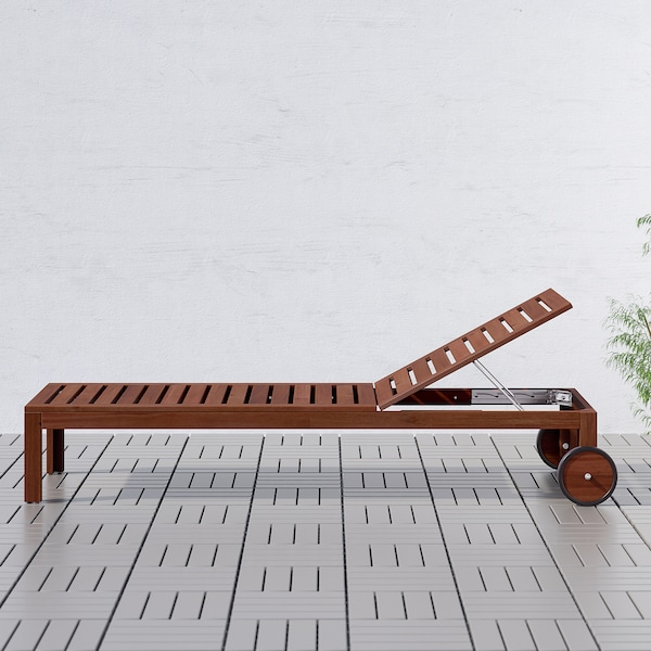 ÄPPLARÖ sun lounger brown stained 199 cm 71 cm 33 cm 60 cm 192 cm