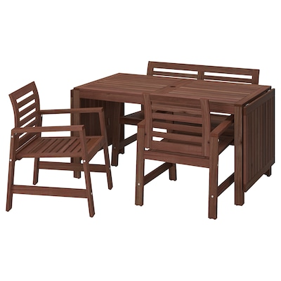 ÄPPLARÖ Table+2 chrsw armr+ bench, outdoor, brown stained