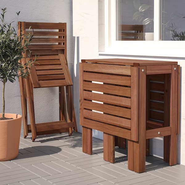 ÄPPLARÖ طاولة+2كراسي قابلة للطي،خارجية, صباغ بني