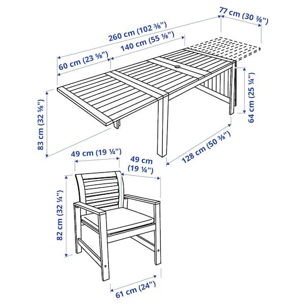 ÄPPLARÖ طاولة+4كراسي بمساند ذراعين،خارجية, صباغ بني/Froson/Duvholmen بيج