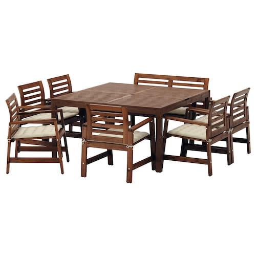ÄPPLARÖ table+6 chairs armr+bench, outdoor brown stained/Hållö beige