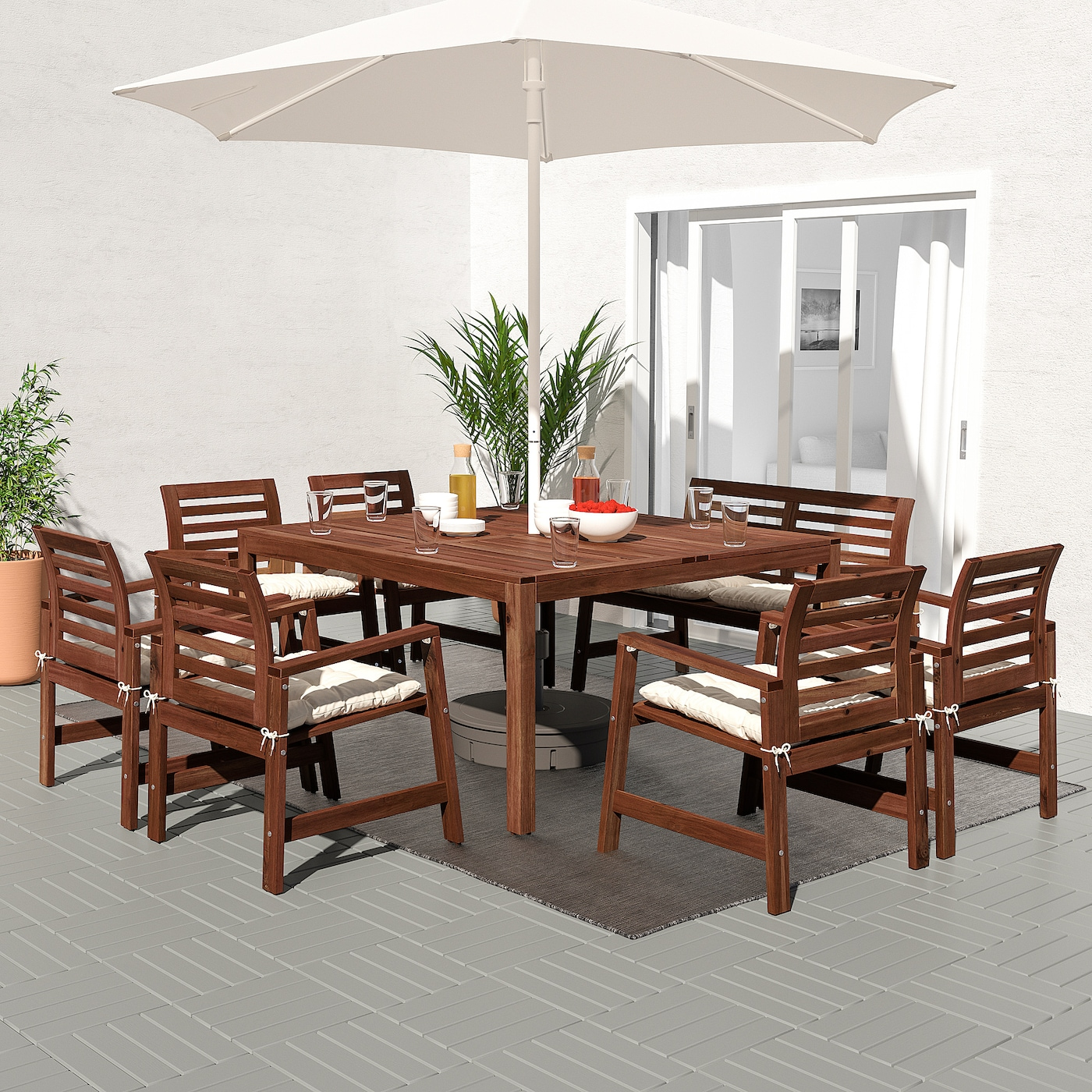 ÄPPLARÖ Table+9 chairs armr+bench, outdoor - brown stained/Kuddarna beige
